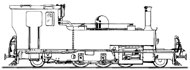 Line drawing of Manning Wardle 2-6-2 YEO the loco we plan to build to 15